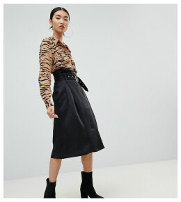 Na-kd paperbag detail midi skirt in black