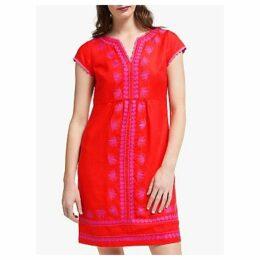 Boden Bea Linen Embroidered Dress, Red Pop