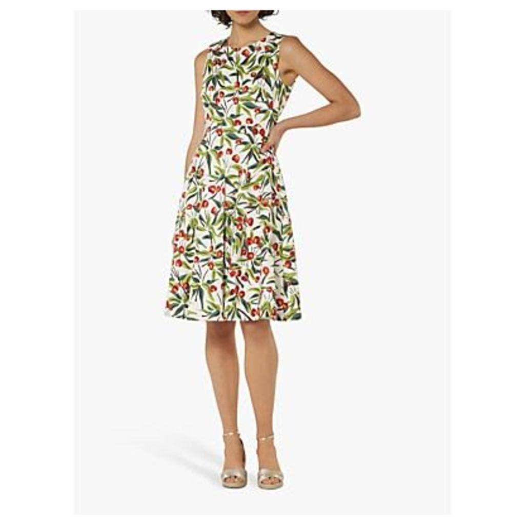 L.K.Bennett Jesse Cherry Print Fit and Flare Dress, Ivory