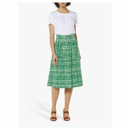 L.K.Bennett Anelin Check Midi Skirt, Green/White