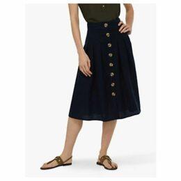 Monsoon Tilly Fixed Linen Midi Skirt, Navy