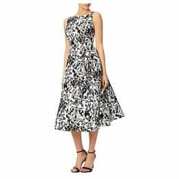 Adrianna Papell Sleeveless Printed Mikado Party Dress, Black