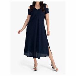 chesca Cold Shoulder V-Neck Crinkle Dress, Navy
