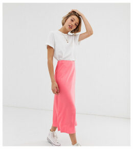 New Look Petite satin midi skirt in rose pink