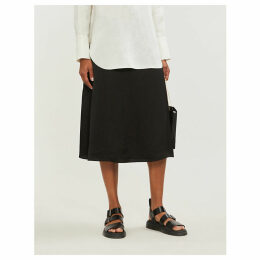 A-line hammered-satin skirt