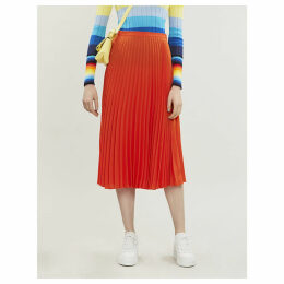 Pleated A-line high-waist crepe midi skirt