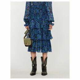 Floral-print shirred-waist silk-chiffon midi skirt