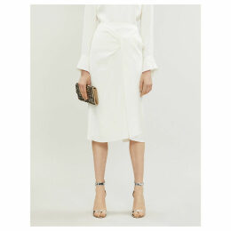 Aura high-waist crepe pencil skirt