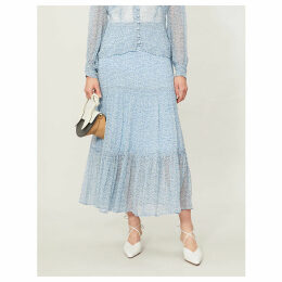Felicia floral-print flared crepe skirt