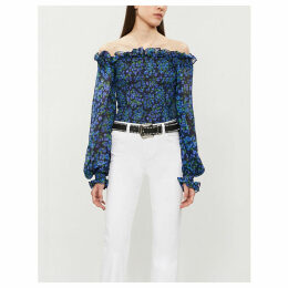 Floral-print off-the-shoulder silk-chiffon top