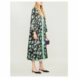 Sofia floral-print satin coat