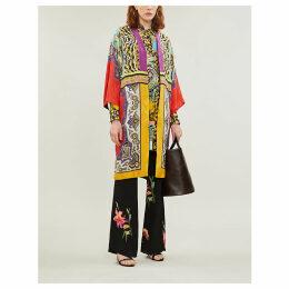 Suffolk printed silk-crepe coat