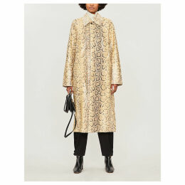 Snakeskin-embossed leather coat