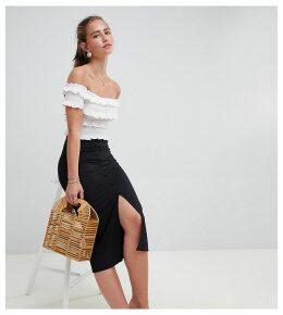 Miss Selfridge midi skirt with split front in black