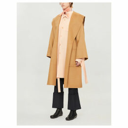 Hooded wool and cashmere-blend wrap coat