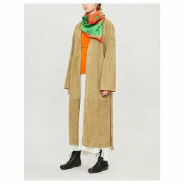 Suede wrap coat