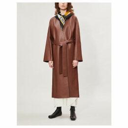 V-neck collar-less leather coat