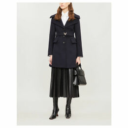 Logo-buckle wool and cashmere-blend coat