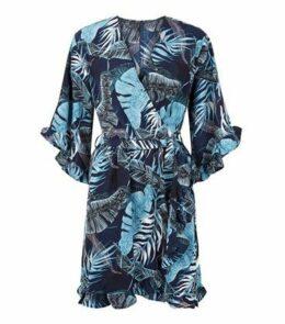 AX Paris Blue Tropical Wrap Dress New Look