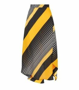AX Paris Yellow Mixed Stripe Midi Skirt New Look