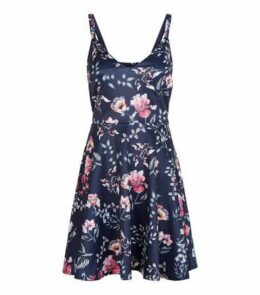 Mela Blue Floral Scuba Mini Dress New Look