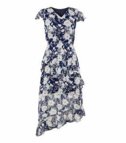 Brave Soul Blue Floral Tiered Hem Midi Dress New Look