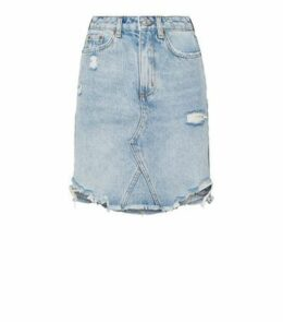 Blue Vintage Wash Ripped Denim Mom Skirt New Look