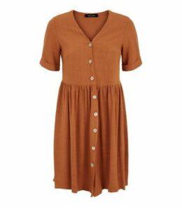 Rust Linen Look Button Up Smock Dress New Look