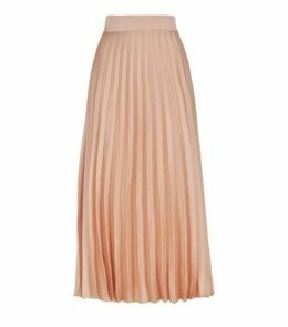 Pale Pink Pleated Satin Midi Skirt New Look