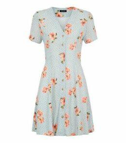 Blue Floral Spot Button Up Tea Dress New Look