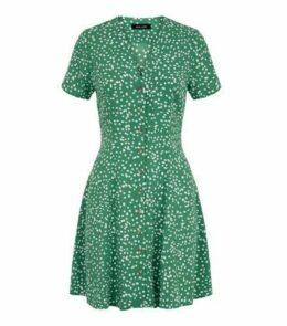 Green Spot Print Button Up Tea Dress New Look