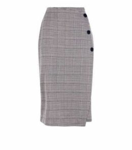 Brown Check Wrap Front Pencil Skirt New Look