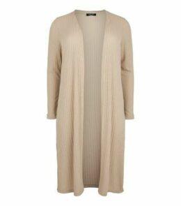 Curves Cream Fine Knit Midi Cardigan New Look