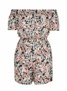 Pink Floral Print Playsuit, Bright Multi