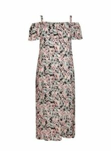 Floral Print Overlay Dress, Bright Multi