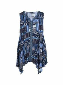 Navy Floral Patchwork Print Tunic, Navy