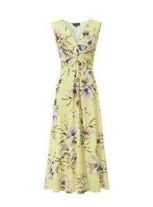 **Grace Yellow Twist Knot Maxi Dress, Pale Yellow