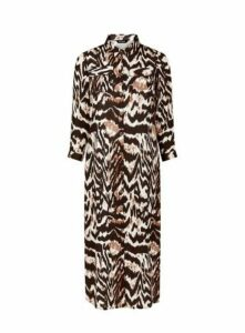 Brown Tiger Print Dress, Black