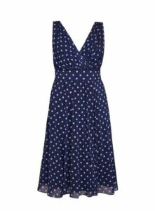 **Scarlett & Jo Blue & Lilac Spot Dress, Blue