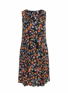Navy Floral Print Sleeveless Dress, Dark Multi