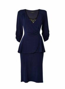 **Scarlett & Jo Navy Tuxedo Peplum Dress, Navy