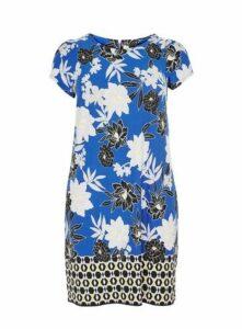Blue Floral Print Shift Dress, Blue