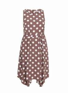 Taupe Spot Print Fit And Flare Dress, Taupe