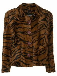 Versace Pre-Owned faux fur tiger pattern jacket - Brown