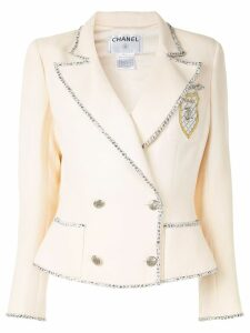 Chanel Pre-Owned contrast trimming slim-fit double breasted blazer -