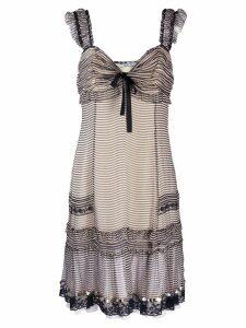 Prada Pre-Owned striped gathered dress - Black