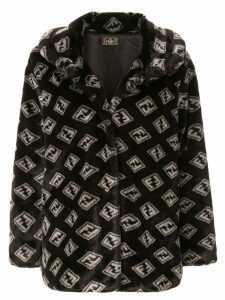 Fendi Pre-Owned Zucca pattern faux fur coat - Black