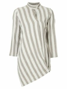 Issey Miyake Pre-Owned band collar striped shirt - Brown