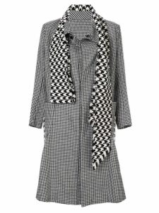 YOHJI YAMAMOTO PRE-OWNED attached scarf houndstooth coat - Black
