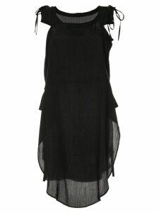 Yohji Yamamoto Pre-Owned lace-up shoulders loose blouse - Black